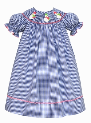 Claire & Charlie Baby / Toddler Girls Royal Blue Check Smocked Snowman Dress