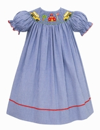 Claire & Charlie Baby / Toddler Girls Royal Blue Check Smocked School Bus Bishop Dress