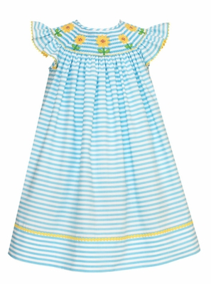 Claire & Charlie Baby / Toddler Girls Turquoise Striped Smocked Yellow Sunflowers Dress