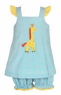 Claire & Charlie Baby / Toddler Girls Turquoise Check Yellow Giraffe Bloomers Set