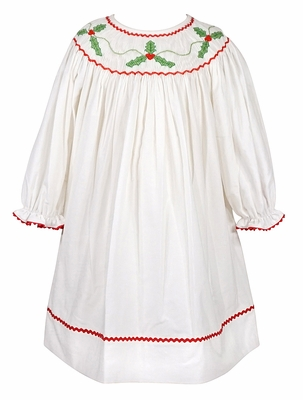 Claire & Charlie Baby / Toddler Girls Winter White Corduroy Smocked Christmas Holly Dress