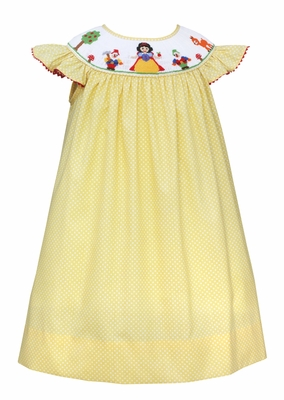 Claire & Charlie Baby / Toddler Girls Yellow / White Dots Smocked Snow White Bishop Dress