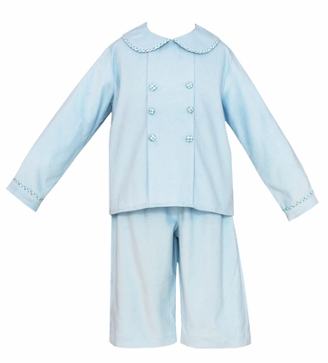 Claire & Charlie Boys Light Blue Corduroy Dressy Pants Set
