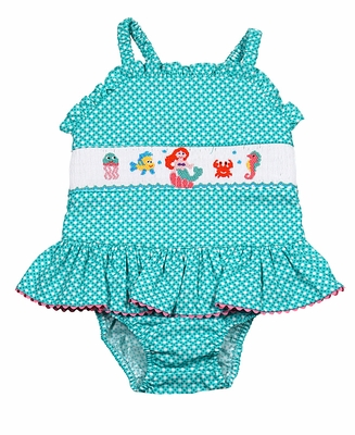Claire & Charlie Girls Aqua Dots Smocked Mermaid Skirted One Piece Bathing Suit