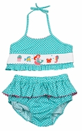 Claire & Charlie Girls Aqua Dots Smocked Mermaid Swimsuit - Two Piece