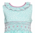 Claire & Charlie Girls Aqua Floral / Pink Smocked Sleeveless Dress - Ruffle Collar & Sash