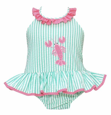 Claire & Charlie Girls Aqua Stripe Seersucker Swimsuit with Pink Lobster- One Piece