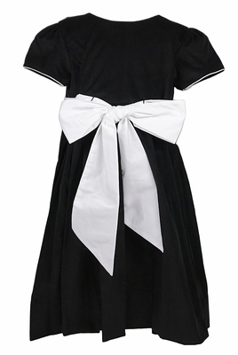 Claire & Charlie Girls Black Corduroy Dress with Big White Bow Sash