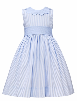 Claire & Charlie Girls Blue Stripe Sleevess Dress - Scallop Collar and Sash