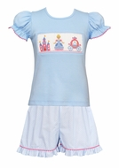 Claire & Charlie Girls Blue / White Dots Ruffle Shorts with Smocked Princess Cinderella Top