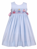 Claire & Charlie Girls Blue / White Dots Smocked Cinderella Dress - Pink Bows on Sides