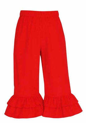 Claire & Charlie Girls Corduroy Pants with Ruffles - Red
