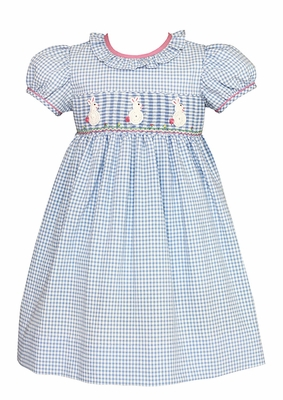 Claire & Charlie Girls French Blue Gingham Smocked White Crochet Easter Bunny Dress - Ruffle Neck
