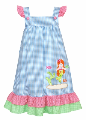 Claire & Charlie Girls French Blue Ruffle Dress - Mermaid Applique