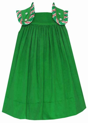Claire & Charlie Girls Green Corduroy Jumper Dress with Striped Trim