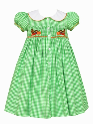 Claire & Charlie Girls Green Gingham Smocked Thanksgiving Cornucopia Dress - Smocked on Back Too!