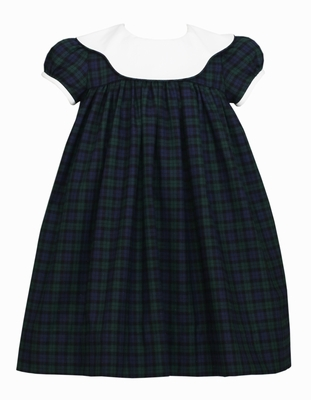 Claire & Charlie Girls Navy Blue / Green Blackwatch Plaid Float Dress with Scallop Collar