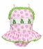Claire & Charlie Girls Pink Dots Smocked Green Frogs Ruffle Swimsuit - One Piece
