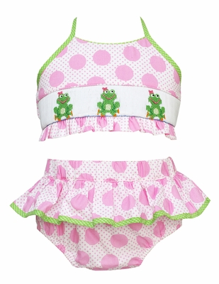 Claire & Charlie Girls Pink Dots Smocked Green Frogs Ruffle Swimsuit - Two Piece