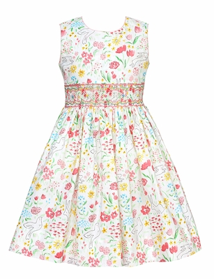 Claire & Charlie Girls Pink Easter Bunny Floral Print Smocked Dress - Sleeveless