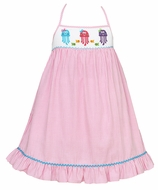 Claire & Charlie Girls Pink Gingham Smocked Jellyfish Sun Dress