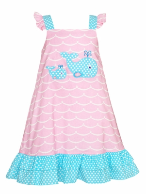 Claire & Charlie Girls Pink Waves / Turquoise Dots Applique Whale Dress
