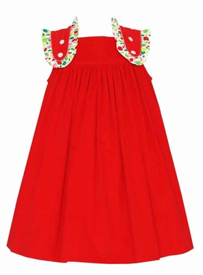 Claire & Charlie Girls Red Corduroy Jumper Dress with Ruffle Dots Straps