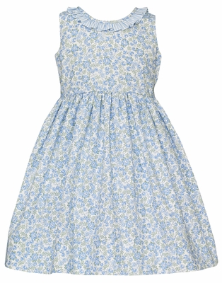 Claire & Charlie Girls Sleeveless Blue Floral Dress with Stripe Sash and V-Back