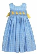 Claire & Charlie Girls Sleeveless Blue Plaid Smocked Yellow Ducks Dress - Bow on Sides