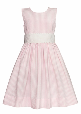 Claire & Charlie Girls Sleeveless Pink Striped Dress with Sash