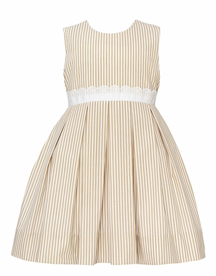 Claire & Charlie Girls Tan Khaki Striped Sleeveless Dress - White Eyelet Waist