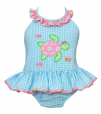 Claire & Charlie Girls Turquoise Check Ruffle Swimsuit - Applique Pink Sea Turtle - One Piece