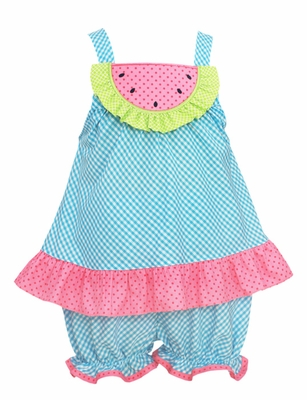Claire & Charlie Infant / Toddler Girls Turquoise Gingham / Pink Dots Watermelon Bloomers Set