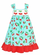 Claire & Charlie Girls Turquoise / Red Cherry Print Smocked Cherries Sundress with Sash