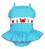 Claire & Charlie Girls Turquoise / White Dots Smocked Crochet Crab Swimsuit - One Piece