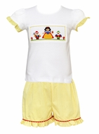 Claire & Charlie Girls Yellow Ruffle Shorts with Smocked Snow White Top