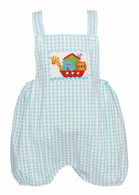 Claire & Charlie Infant Boys Turquoise Plaid Smocked Noah's Ark Bubble