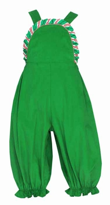 Claire & Charlie Infant Girls Green Corduroy Romper with Striped Trim