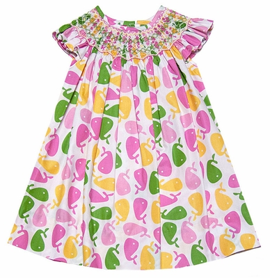 Claire & Charlie Girls Pink / Green Preppy Whales Print Smocked Dress