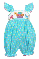 Claire & Charlie Infant Girls Turquoise / Pastel Dots Smocked Noah's Ark Bubble