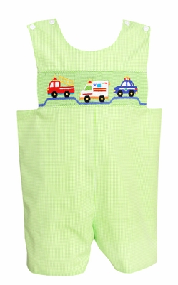 Claire & Charlie Infant / Toddler Boys Lime Green Gingham Smocked Rescue Cars Shortall