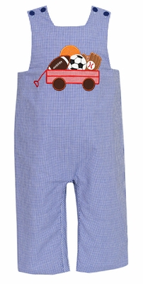 Claire & Charlie Infant / Toddler Boys Royal Blue Gingham Wagon Full of Sports Balls Longall