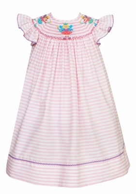 edfcd72de0b17 Claire & Charlie Infant / Toddler Girls Pink Striped Smocked Fairy Dress