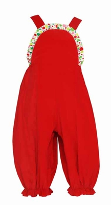 Claire & Charlie Infant / Toddler Girls Red Corduroy Romper with Ruffle Dots Trim