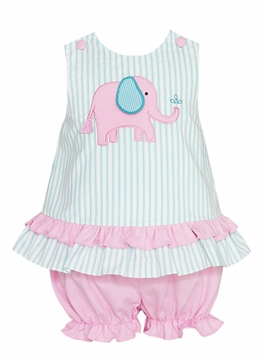 Claire & Charlie Infant / Toddler Girls Turquoise / Pink Elephant Bloomers Set