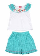 Claire & Charlie Toddler Girls Aqua Dots Ruffle Shorts with Smocked Mermaid Top