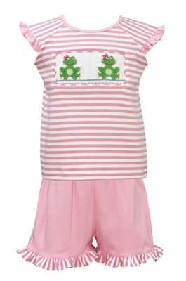 Claire & Charlie Toddler Girls Pink Striped Knit Smocked Frogs Top with Ruffle Shorts
