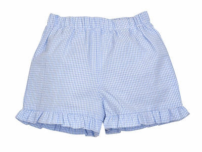 Color Works by Funtasia Girls Ruffle Shorts - Seersucker - Light Blue