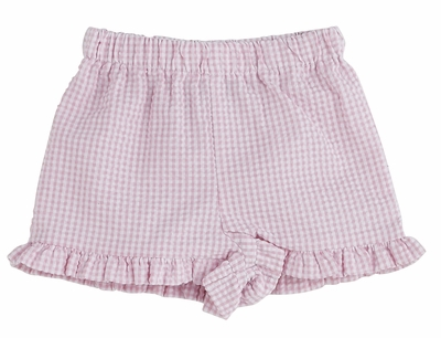 Color Works by Funtasia Girls Ruffle Shorts - Seersucker - Light Pink