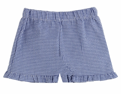 Color Works by Funtasia Girls Ruffle Shorts - Seersucker - Navy Blue